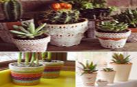با تکه های پارچه، گلدان های رنگی و شاد بسازید